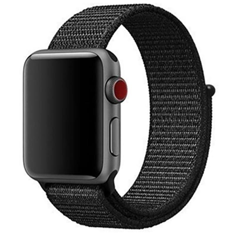 Voorzijde Nylon Apple Watch Band Exhibit Zwart
