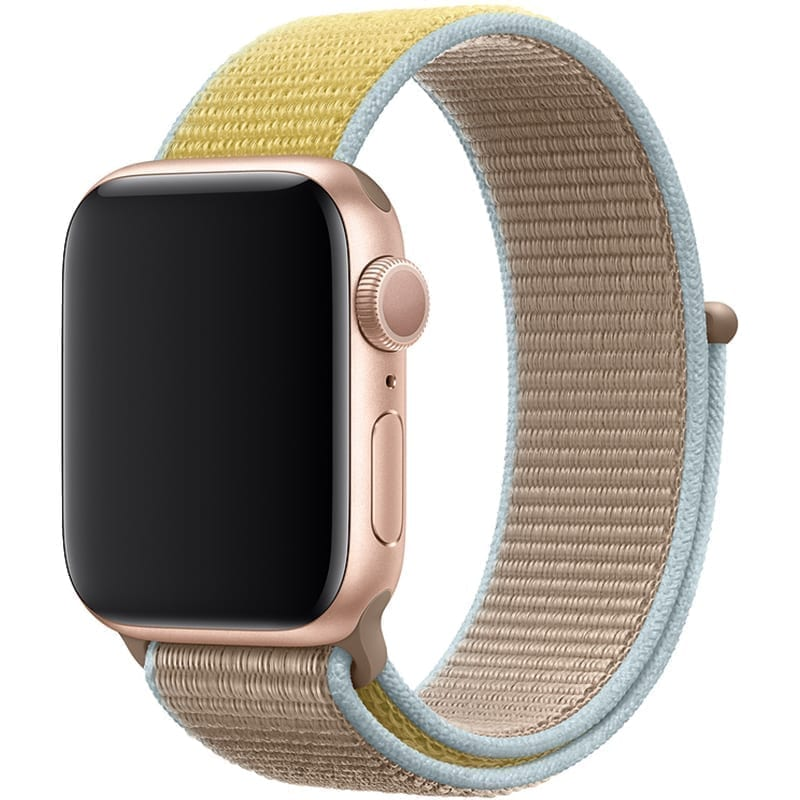 Voorzijde Nylon Apple Watch Band Exhibit Camel