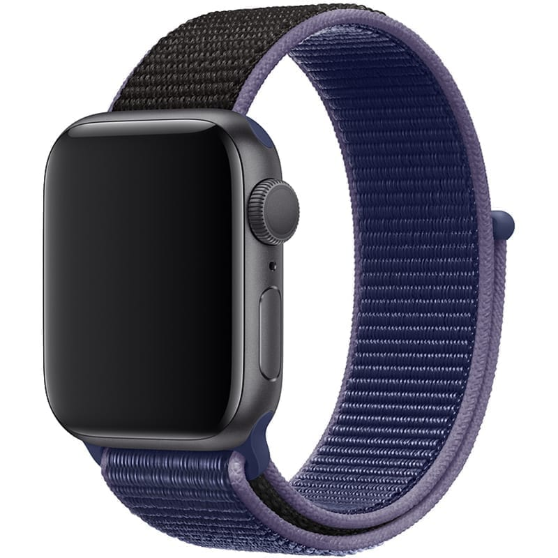 Voorzijde Nylon Apple Watch Band Exhibit Middernacht Blauw