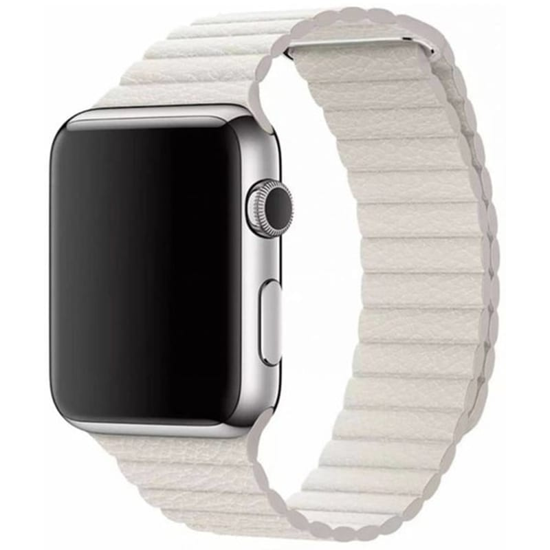 Voorzijde van de Apple Watch Leren Bandje Charismatic Loop Wit
