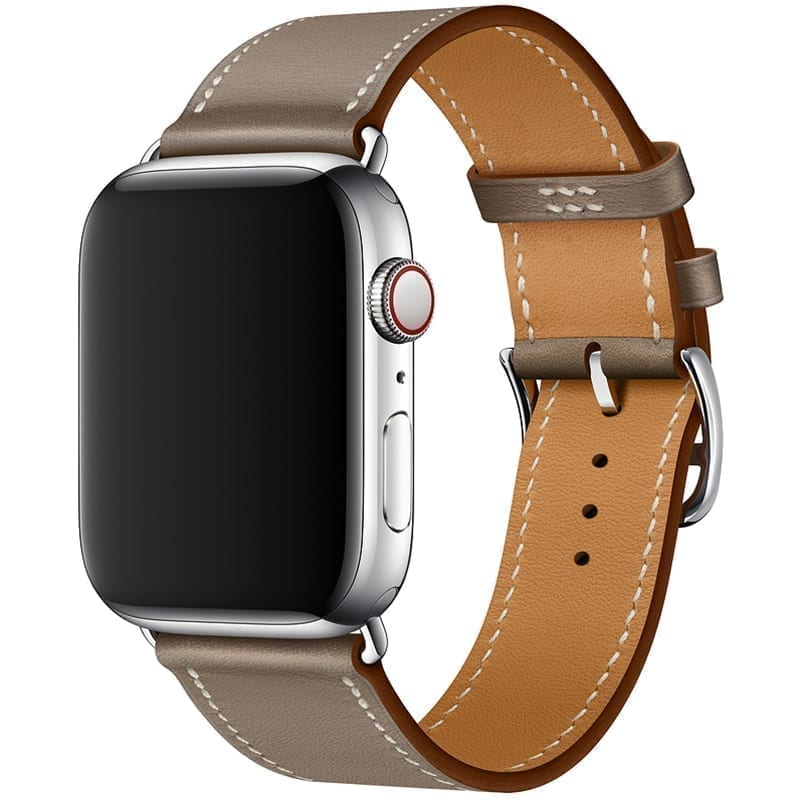 Voorzijde van Apple Watch Leren Bandje Simple Tour Uptown Taupe