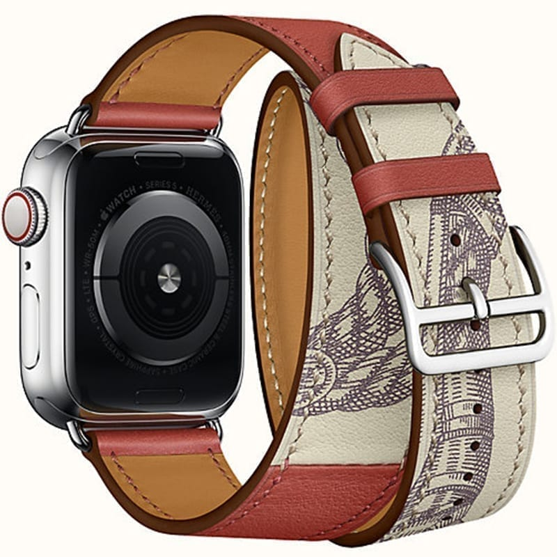 Zijaanzicht van de Apple Watch Leren Bandje Double Tour Uptown Brique Béton