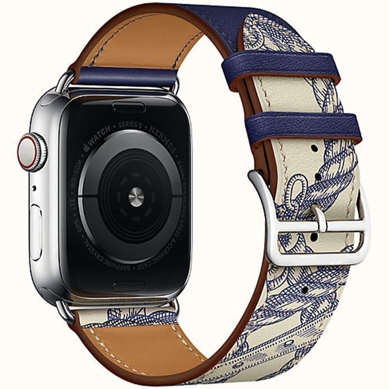 Zijaanzicht van de Apple Watch Leren Bandje Simple Tour Uptown Encre Béton
