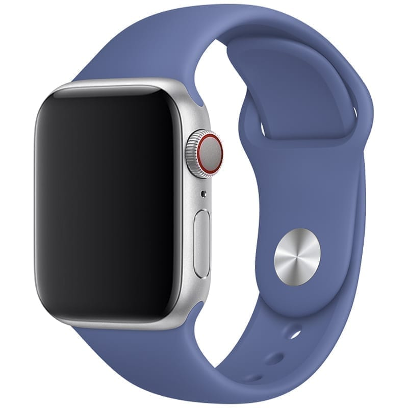 Vooraanzicht van de Apple Watch Sport Band Frolic Linnenblauw