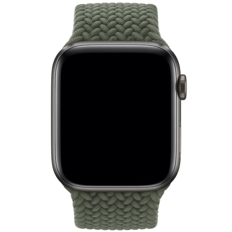 Bovenzijde van het Apple Watch Gevlochten Solobandje Nisha Olijfgroen