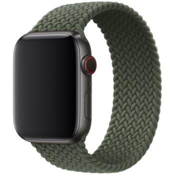 Voorzijde van het Apple Watch Gevlochten Solobandje Nisha Olijfgroen