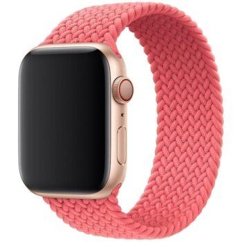 Voorzijde van het Apple Watch Gevlochten Solobandje Nisha Pop Roze